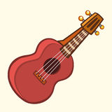 Cartoon Vector Illustration of Acoustic Guitar or ukulele. Cartoon clip art. Musical instrument icon. Stock Images