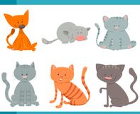 Adorable cats and kittens characters set. Cartoon Vector Illustration of Adorable Cats or Kittens Characters Set Royalty Free Stock Photos