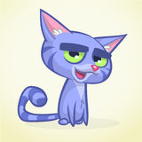 Cartoon vector illustration of blue kitty. Cat with fluffy  striped tail vector icon Royalty Free Stock Photography