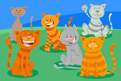 Cute cats or kittens characters group Royalty Free Stock Image