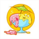 Cartoon melting ice cream. Cartoon vector illustration of colored melting ice cream Royalty Free Stock Images
