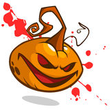 Cartoon vector illustration of creepy Jack o Lantern pumpkin head with red eyes on bloody spots Royalty Free Stock Photography