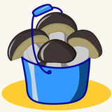Cartoon. Vector Illustration of cute ceps in blue bucket Royalty Free Stock Photo