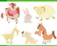 Cartoon happy farm animal characters set stock illustration