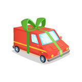Cartoon vector illustration of delivery van. Concept design  a truck with  ribbon in form   gift. Cartoon vector illustration of delivery van. Concept design of Stock Photography