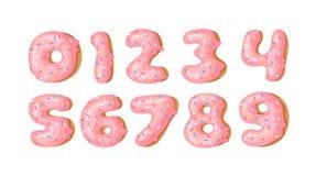Cartoon vector illustration donut. Hand drawn set of numbers with sweet bun. Actual Creative art work bake. Cartoon vector illustration donut. Hand drawn set of vector illustration