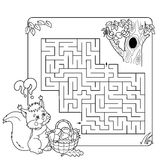 Cartoon Vector Illustration of Education Maze or Labyrinth Game Royalty Free Stock Image
