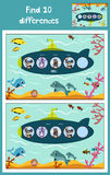 Cartoon Vector Illustration of Education to find 10 differences in children's pictures, the submarine floats in the ocean with ani. Mals . Matching Game for Royalty Free Stock Image