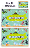 Cartoon Vector Illustration of Education to find 10 differences in a colorful kid-friendly illustrations, the submarine floats wit. H animals. Matching Game for Stock Image