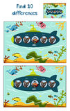 Cartoon Vector Illustration of Education to find 10 differences in a colorful kid-friendly illustrations, the submarine floats wit Royalty Free Stock Images