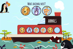 Cartoon Vector Illustration of Education will continue the logical series of colourful animals on a boat in the ocean among Island Stock Photo