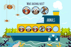 Cartoon Vector Illustration of Education will continue the logical series of colourful animals on a boat in the ocean among the wi. Ld Islands. Matching Game for Stock Photos