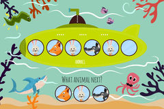 Cartoon Vector Illustration of Education will continue the logical series of colourful animals on a green submarine . Matching Gam Stock Photo