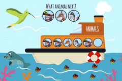 Cartoon Vector Illustration of Education will continue the logical series of colourful animals on a ship in the ocean among sea pl. Cartoon Vector Illustration Royalty Free Stock Photo