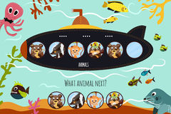 Cartoon Vector Illustration of Education will continue the logical series of colourful animals on submarine forest in the blue sea. Matching Game for Preschool Stock Photos