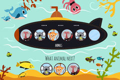 Cartoon Vector Illustration of Education will continue the logical series of colourful animals on submarine in the ocean among sea Royalty Free Stock Image