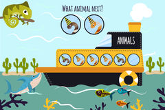 Cartoon Vector Illustration of Education will continue the logical series of colourful animals of worms on the ship in the ocean a Royalty Free Stock Photos