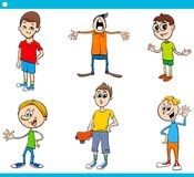 Boys children characters cartoon set Stock Photography