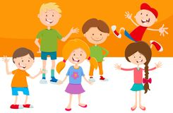 Cartoon funny children characters group Royalty Free Stock Photos