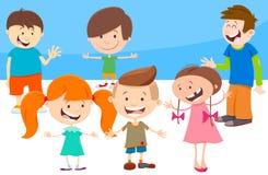 Cartoon kids comic characters group Stock Image