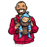 Cartoon vector illustration father with baby son in carrier pouc. Cartoon vector family illustration with dad walking with his baby son in a baby pouch having Stock Photo
