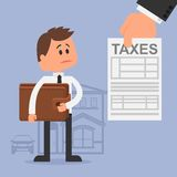 Cartoon vector illustration for financial. Management and taxes concept. Unhappy man with wallet got tax invoice. Flat design Royalty Free Stock Photos