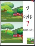 Cartoon Vector Illustration of Find the Differences Between Pict. Ures Educational Activity Game for Children with farm house in the meadow Stock Photos
