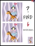 Cartoon Vector Illustration of Find the Differences. Between Pictures Educational Activity Game for Children with Cute Animal Characters Group Stock Images