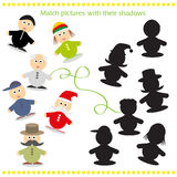 Cartoon Vector Illustration of Find the Shadow. Educational Activity Game for Preschool Children Royalty Free Stock Photography