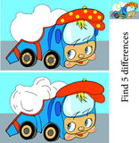 Cartoon Vector Illustration of Finding Differences Royalty Free Stock Photo