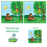 Cartoon Vector Illustration of Finding Differences. Educational Task for Preschool Children Stock Photography
