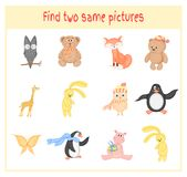 Cartoon Vector Illustration of Finding Two Exactly the Same Pictures Educational Activity for Preschool Children with. Animals Stock Photos