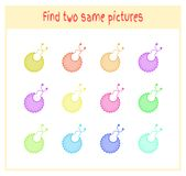 Cartoon Vector Illustration of Finding Two Exactly the Same Pictures Educational Activity for Preschool Children with. Baby bibs Royalty Free Stock Photography
