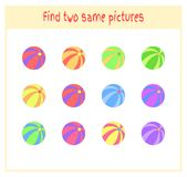 Cartoon Vector Illustration of Finding Two Exactly the Same Pictures Educational Activity for Preschool Children with. Balls Royalty Free Stock Images
