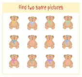 Cartoon Vector Illustration of Finding Two Exactly the Same Pictures Educational Activity for Preschool Children with. Bears Royalty Free Stock Photo