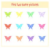 Cartoon Vector Illustration of Finding Two Exactly the Same Pictures Educational Activity for Preschool Children with. Butterflies Stock Images