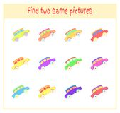Cartoon Vector Illustration of Finding Two Exactly the Same Pictures Educational Activity for Preschool Children with. Car Stock Photos