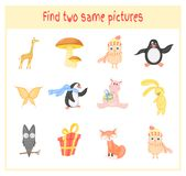 Cartoon Vector Illustration of Finding Two Exactly the Same Pictures Educational Activity for Preschool Children with. Animals owl, hippo, Fox, giraffe, penguin Stock Photography