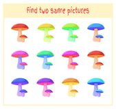 Cartoon Vector Illustration of Finding Two Exactly the Same Pictures Educational Activity for Preschool Children with. Mushrooms Royalty Free Stock Photo