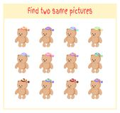 Cartoon Vector Illustration of Finding Two Exactly the Same Pictures Educational Activity for Preschool Children with. Bears Royalty Free Stock Images