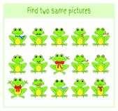 Cartoon Vector Illustration of Finding Two Exactly the Same Pictures Educational Activity for Preschool Children with. Frogs Stock Photography