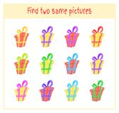 Cartoon Vector Illustration of Finding Two Exactly the Same Pictures Educational Activity for Preschool Children with. Gift Stock Image