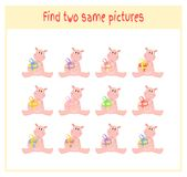Cartoon Vector Illustration of Finding Two Exactly the Same Pictures Educational Activity for Preschool Children with. Hippos and gifts Stock Images