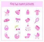 Cartoon Vector Illustration of Finding Two Exactly the Same Pictures Educational Activity for Preschool Children with. Items for children and babies Royalty Free Stock Photography