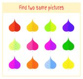 Cartoon Vector Illustration of Finding Two Exactly the Same Pictures Educational Activity for Preschool Children with. Leaves of the tree Stock Photo