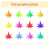 Cartoon Vector Illustration of Finding Two Exactly the Same Pictures Educational Activity for Preschool Children with. Leaves of the tree Royalty Free Stock Photo