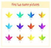 Cartoon Vector Illustration of Finding Two Exactly the Same Pictures Educational Activity for Preschool Children with. Leaves of the tree Stock Image