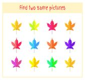 Cartoon Vector Illustration of Finding Two Exactly the Same Pictures Educational Activity for Preschool Children with. Leaves of the tree Royalty Free Stock Photography