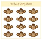 Cartoon Vector Illustration of Finding Two Exactly the Same Pictures Educational Activity for Preschool Children with. Monkey Stock Images
