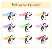 Cartoon Vector Illustration of Finding Two Exactly the Same Pictures Educational Activity for Preschool Children with. Penguins Royalty Free Stock Photos